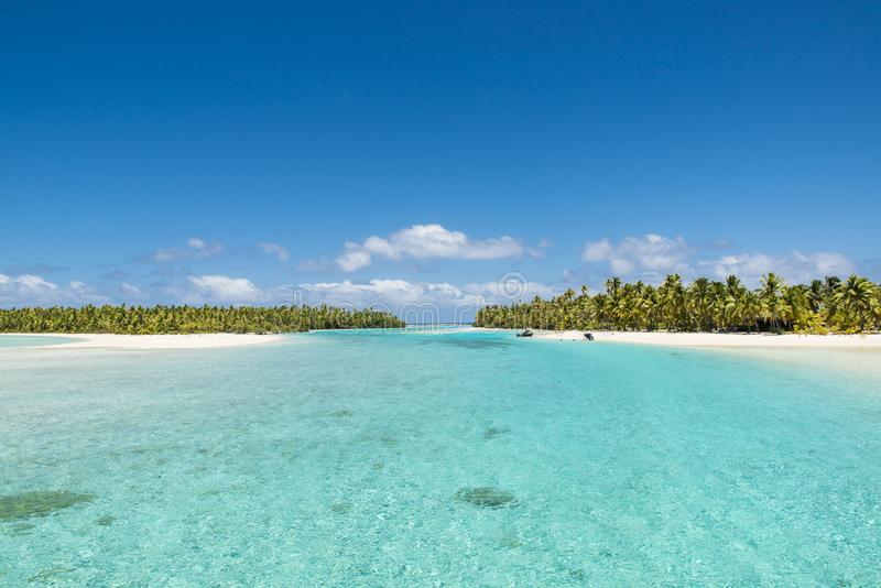 Perfect islands in turquoise clear water, deep blue sky, white sand, Pacific Island royalty free stock image