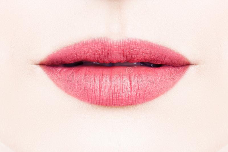 Perfect lips with pink lipstick. Female Perfect lips with pink lipstick royalty free stock images
