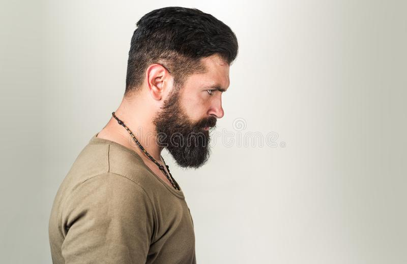 Perfect long beard. Close-up of young bearded man standing against gray background royalty free stock image
