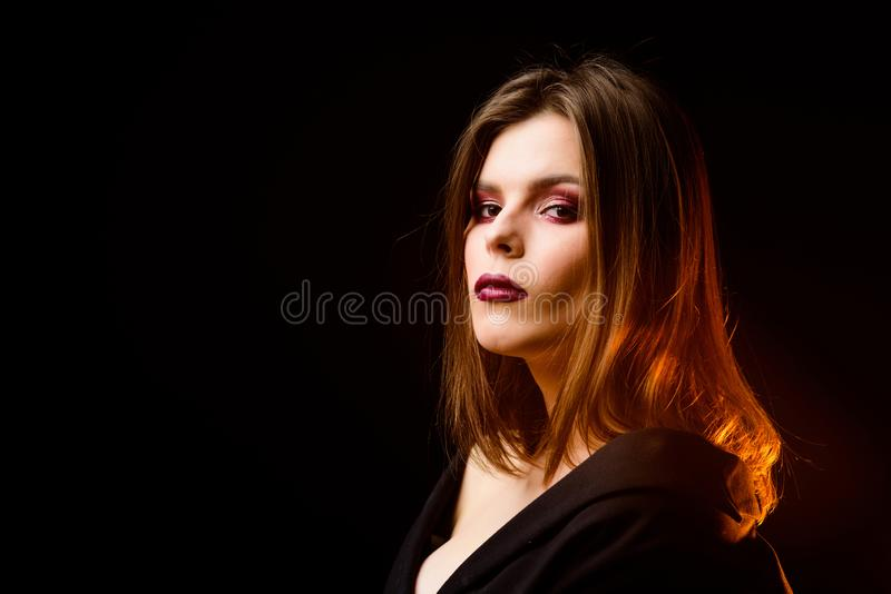 Perfect makeup. Makeup cosmetics concept. Confident in her impeccable appearance. Mysterious fashion model bob hairstyle. Feminine and glamorous. Attractive stock images