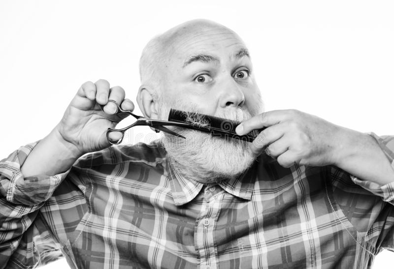 Perfect male. barbershop concept. shaving accessories. unshaven old man has moustache and beard. cut and brush hair stock images