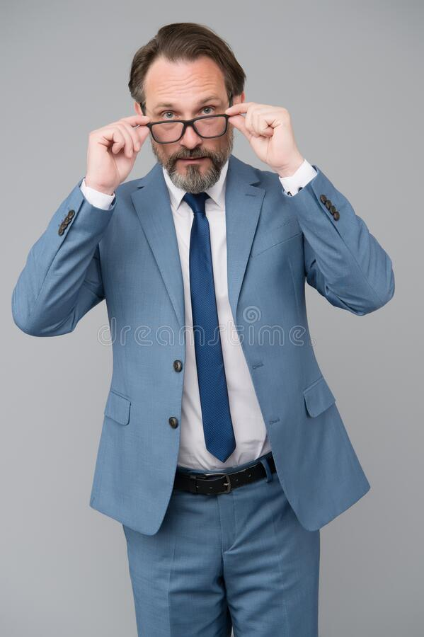 Free Perfect Male. Looking Smart And Intelligent. Man With Beard And Glasses Feel Confident. Serious Looking Businessman In Royalty Free Stock Photos - 187805348