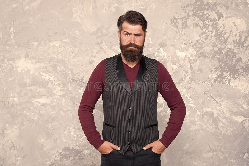 Perfect male. stylish well-trimmed mustaches looking good. Bearded hipster formal outfit. Vintage barber hairdresser. Male fashion and beauty. Confident guy at royalty free stock photo