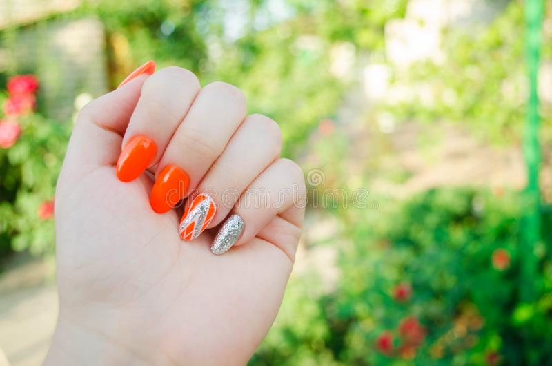Perfect manicure and natural nails. Attractive modern nail art design. orange autumn design. long well-groomed nails.  royalty free stock photo
