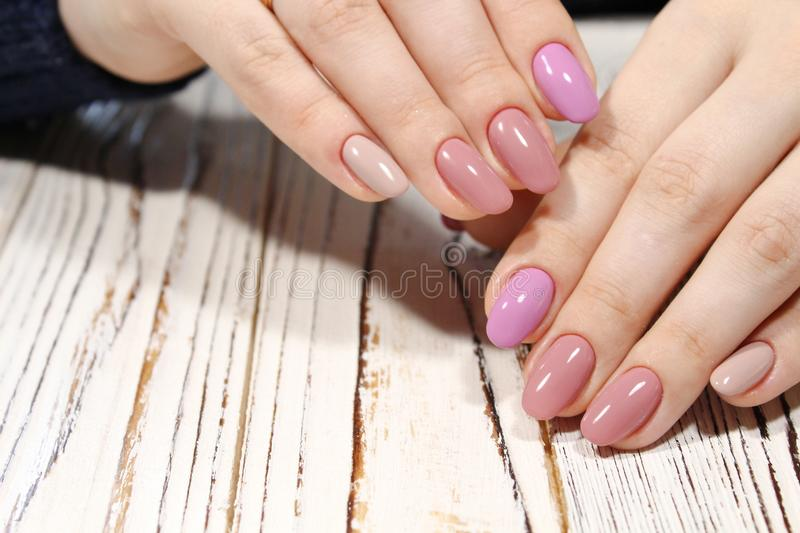 Perfect Manicure And Natural Nails. Stock Image - Image of french ...