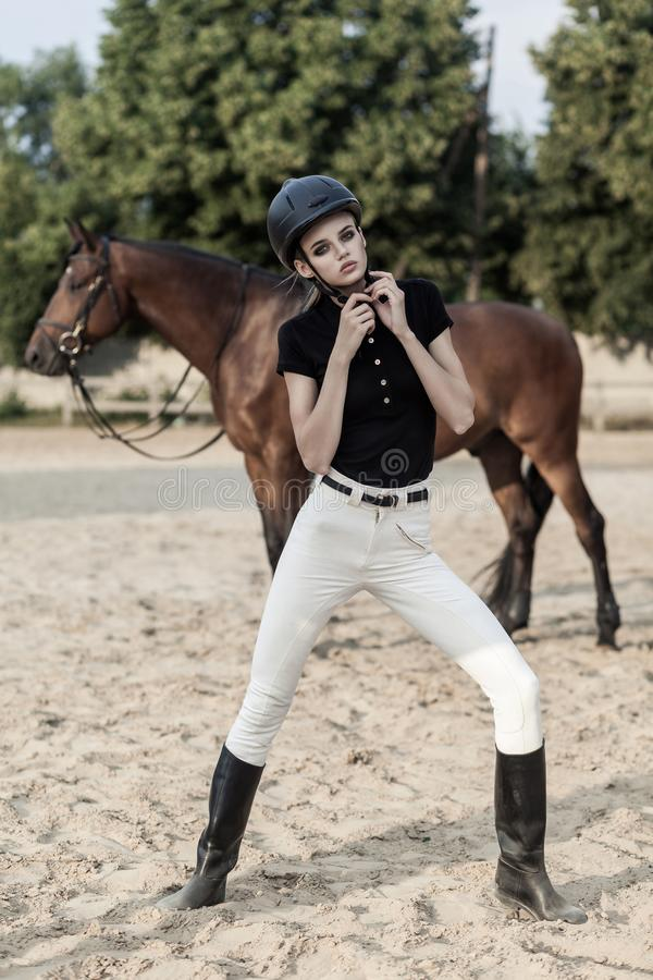 Perfect model wearing equides suit and equipment posing near hourse royalty free stock photo