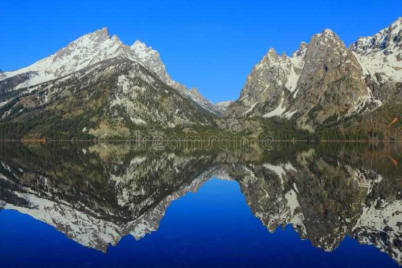 Perfect Morning Reflection of Jagged Rocky Mountain Peaks in Jenny Lake, Grand Teton National Park, Wyoming, United States. Perfect reflection of the Teton Range stock image