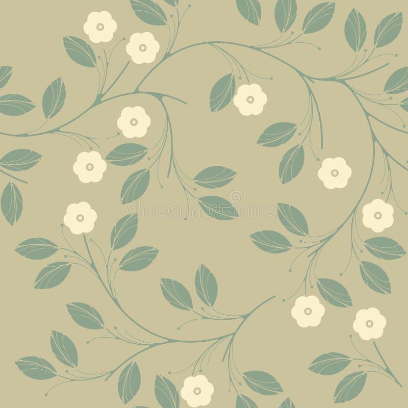 Perfect naadloos patroon met leuke bloemen en bladeren stock illustratie