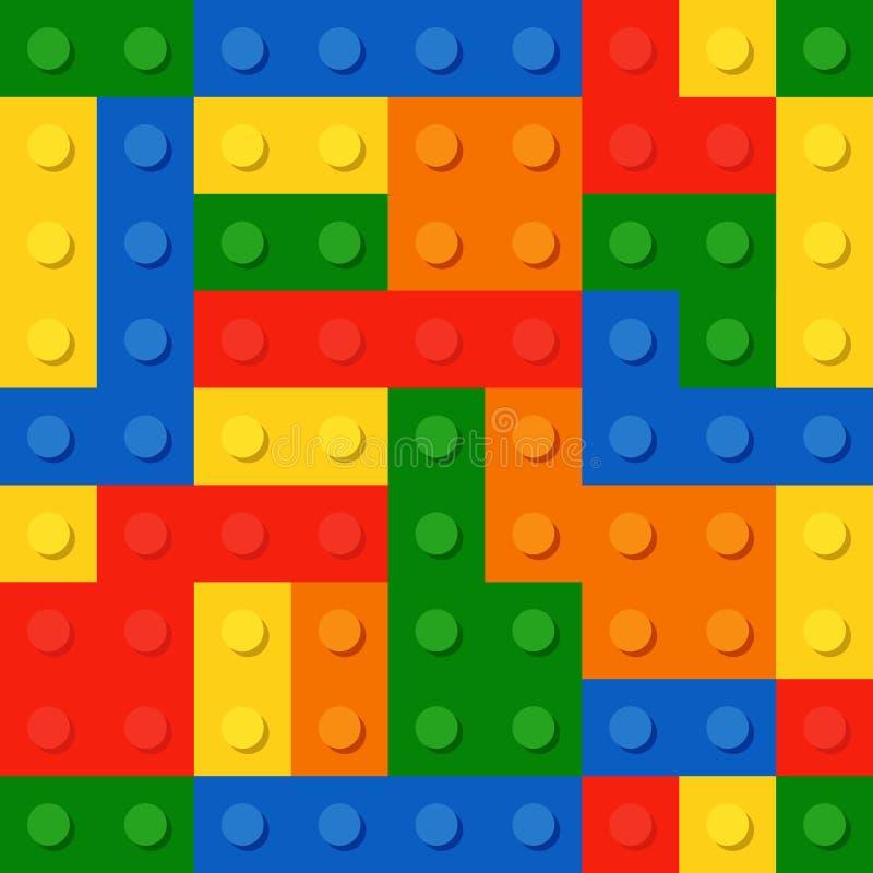 Perfect naadloos patroon van plastic delen De kleuren trekken t-mengeling met elkaar aan stock illustratie