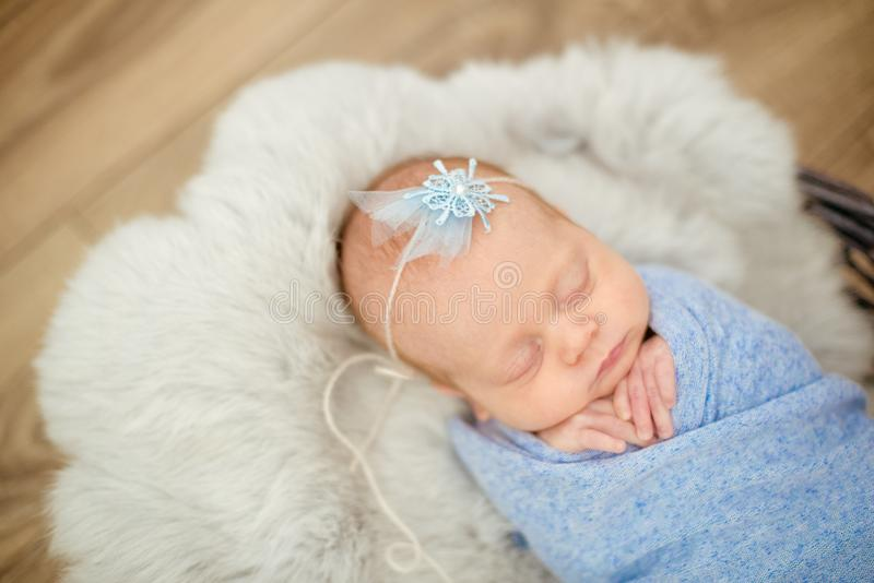 Perfect newborn baby girl in blue blanket in a wicker basket decorated with branches stock photos