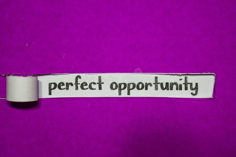 Perfect Opportunity, Inspiration, Motivation and business concept on purple torn paper stock image