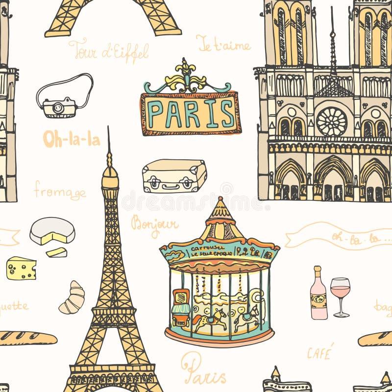 Perfect Paris seamless pattern with all symbols. Of a capital - tour Eiffel, carrousel, Notre dame de paris, cheese, wine. Vector Paris illustration royalty free illustration