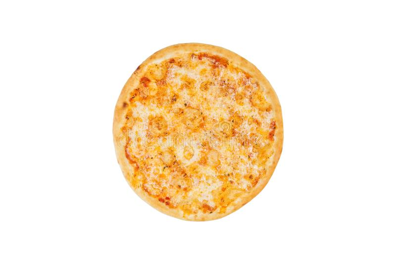 Perfect pizza margarita isolated on a white background. Top view stock image