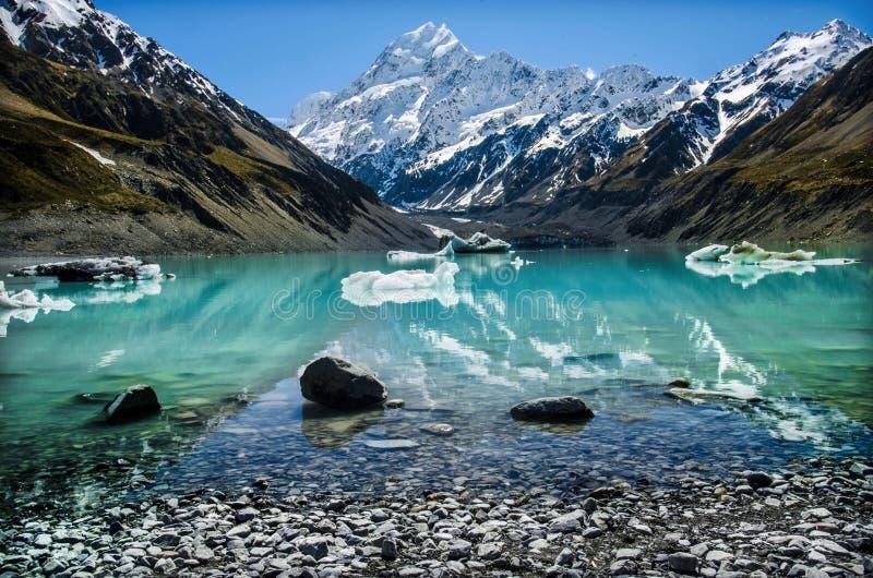 Perfect pogoda widzieć Mueller jezioro, Aoraki, góra Cook, Nowa Zelandia obrazy stock