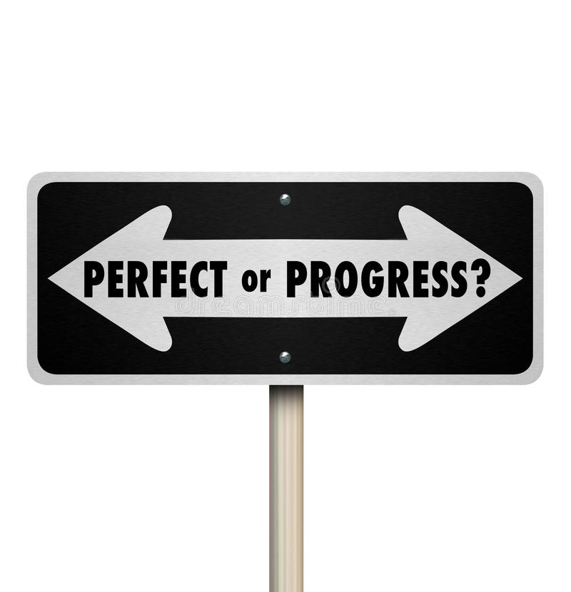 Perfect or Progress Arrow Signs Pointing Road Ahead stock illustration