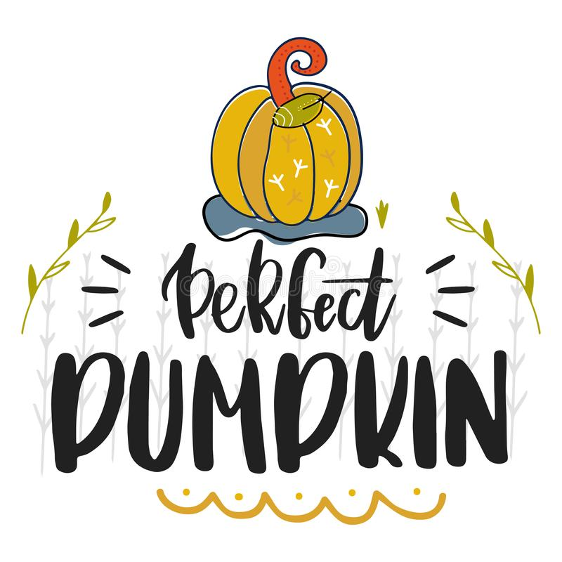 Perfect pumpkin. Hand drawn vector illustration. Autumn color poster. Good for scrap booking, posters, greeting cards, banners, te. Xtiles, gifts, shirts, mugs vector illustration