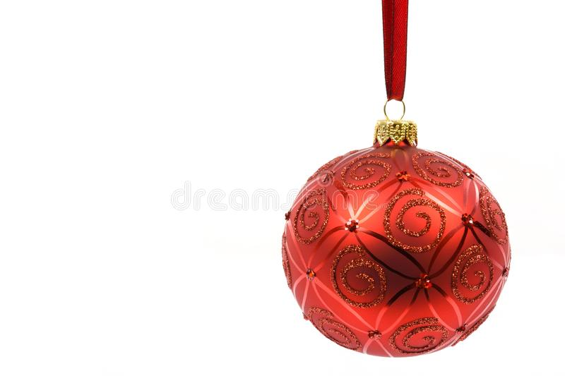 Perfect red christmas ball royalty free stock photography