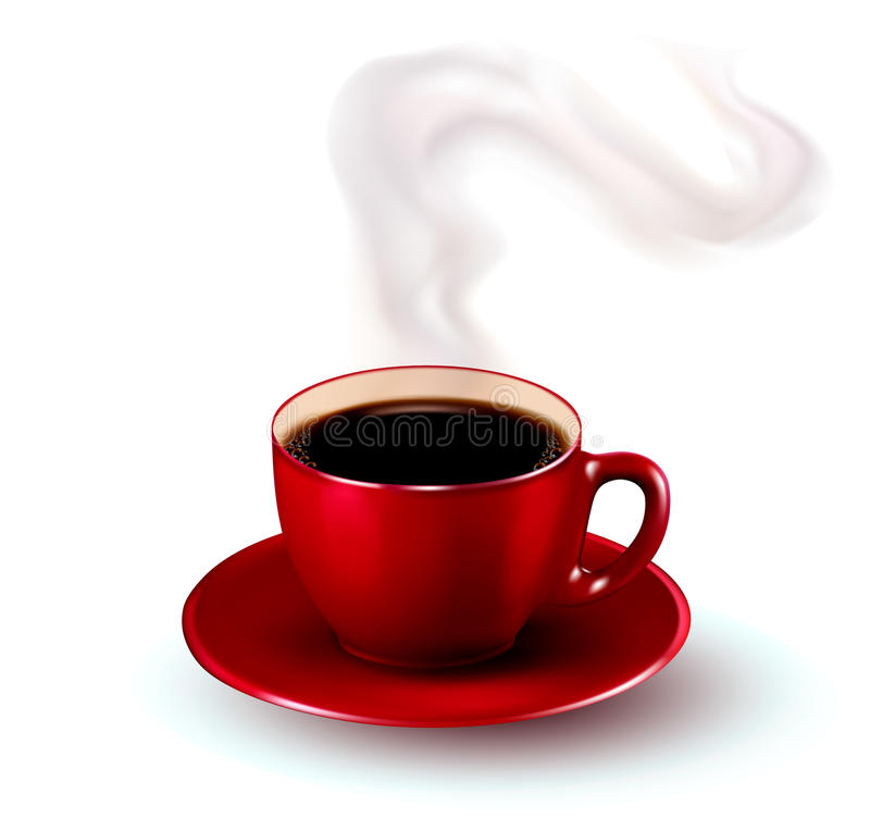 Perfect Red Cup Of Coffee With Steam Stock Photography