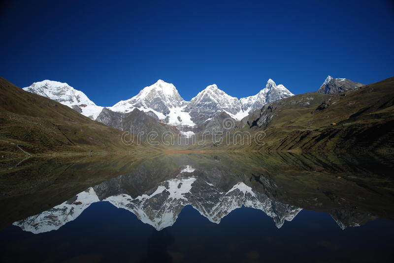 Perfect reflection of a lake & snow peaks of Peru stock photography