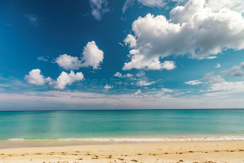 Perfect sandy beach. Transparent calm tropical sea stock photo