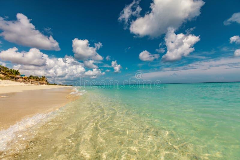 Perfect sandy beach. Transparent calm tropical sea stock image