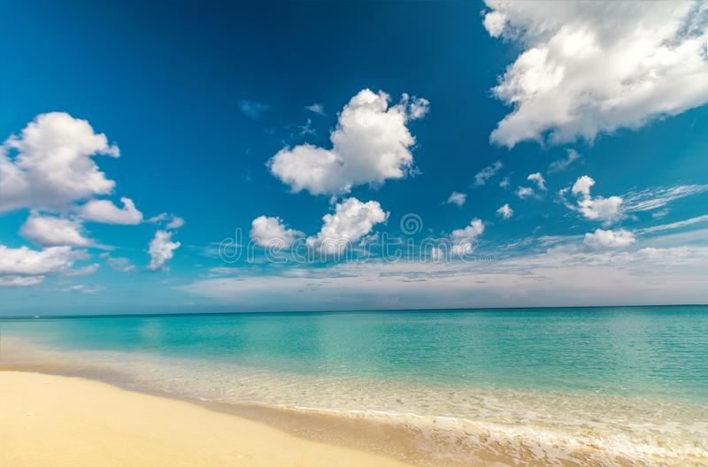 Perfect sandy beach. Transparent calm tropical sea royalty free stock photos