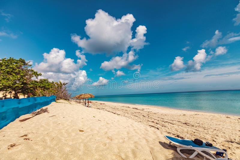 Perfect sandy beach. Transparent calm tropical sea royalty free stock photography