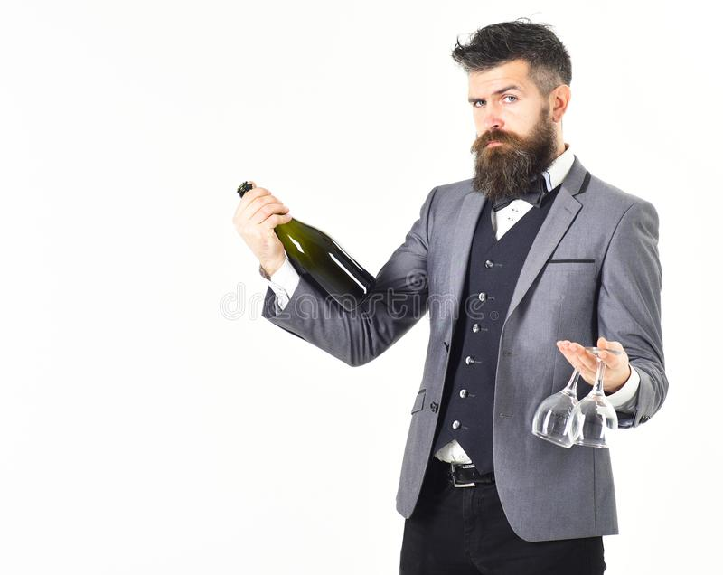 Perfect service, good manners, alcohol concept. royalty free stock photo