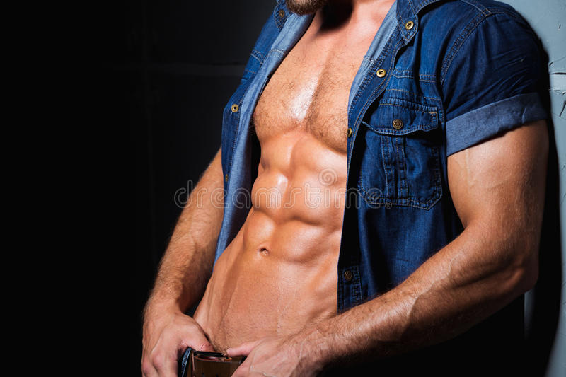 Perfect and torso of young man. Background of muscular and torso of young man stock images