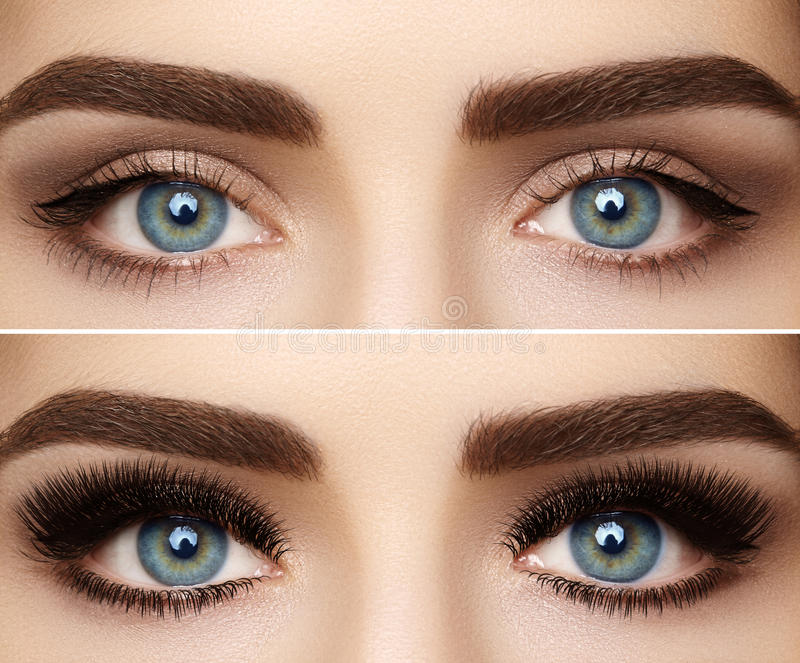Perfect shape of eyebrows and extremly long eyelashes. Macro shot of fashion eyes visage. Before and after stock photos