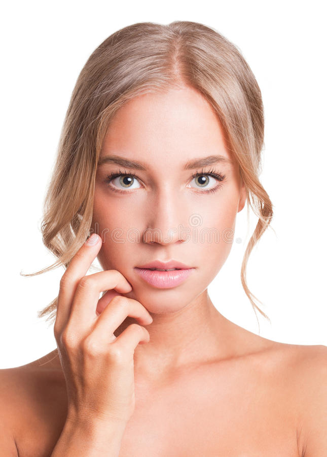 Perfect skin. Portrait of a blond beauty with perfect tanned skin royalty free stock photography