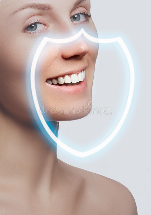 Perfect smile after bleaching. Dental care and whitening teeth. Stomatology and beauty care. Woman smiling with great teeth. Cheerful female smile with fresh royalty free stock image