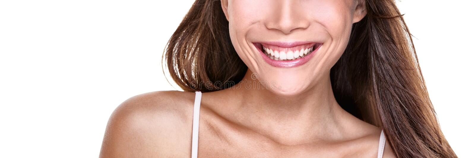 Perfect smile smiling woman with white teeth on white background copy space banner. Closeup of mouth and smile royalty free stock photos