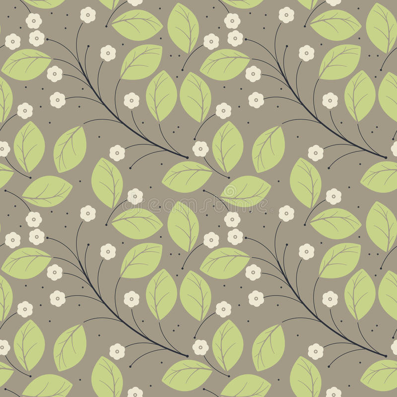 Perfect spring seamless pattern with green leaves and ivory flow. Ers can be used for surface textures, textile, linen, tile, kids cloth, pattern fills and more royalty free illustration