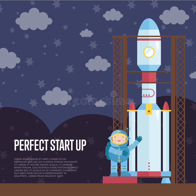 Perfect Start Up Cartoon Vector royalty free illustration