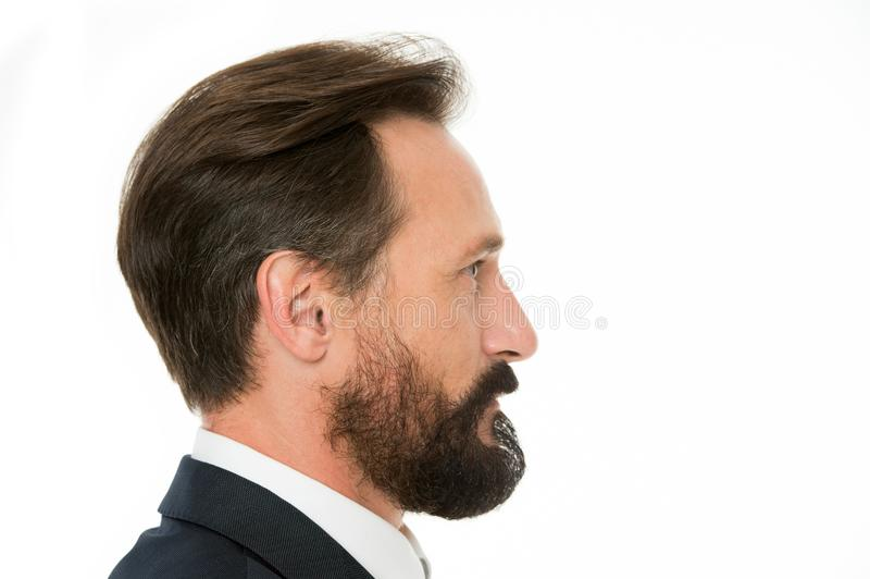 Perfect style. Business man well groomed mature guy side view white background. Business people hairstyle. Businessman stock photography