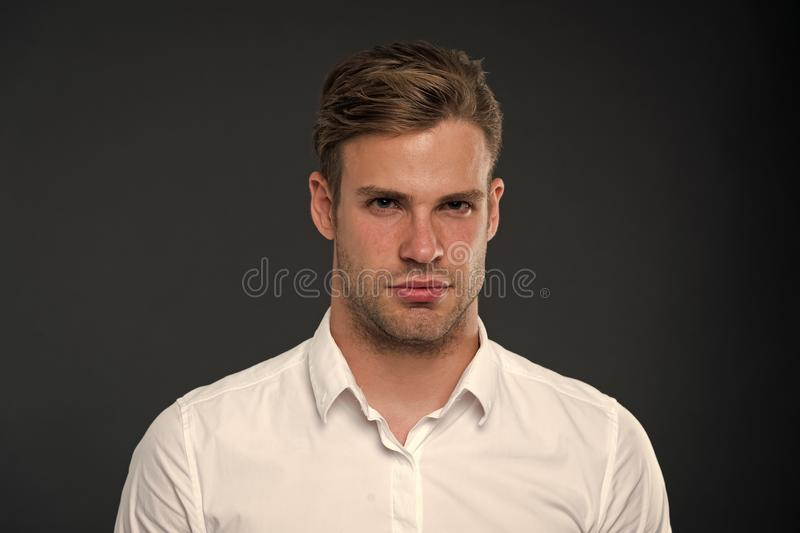 Perfect style. Hair grooming tips. Business man well groomed guy dark background. Business people hairstyle. Businessman royalty free stock photos