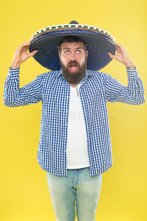Perfect for sun protection. Traditional fashion accessory for theme costume party. Hipster in wide brim hat. Mexican man. Wearing sombrero. Bearded man in stock images