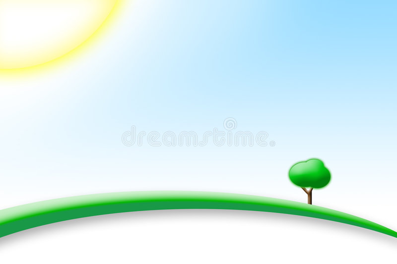 Perfect Sunny Day. With blu sky and green hill with a tree vector illustration