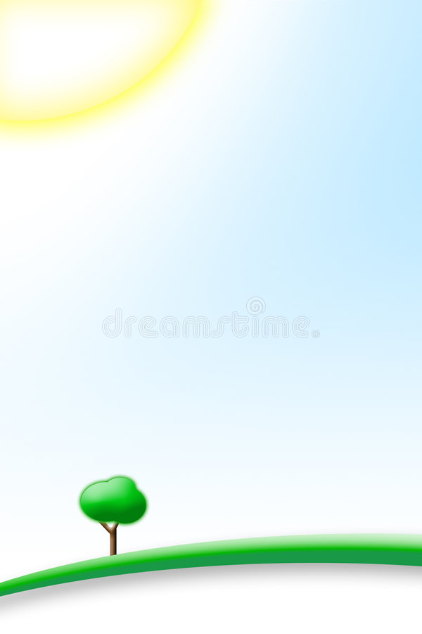 Perfect Sunny Day. With blu sky and green hill with a tree stock illustration