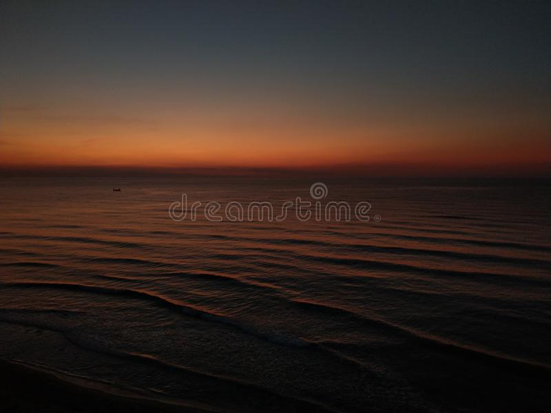 Perfect sunrise sky at the seaside stock images