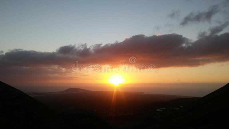 Perfect sunset. Beautiful sunset on the island of Lanzarote Spain royalty free stock photography