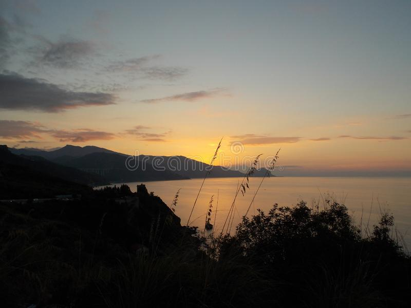 Perfect sunset, Sicily royalty free stock photos