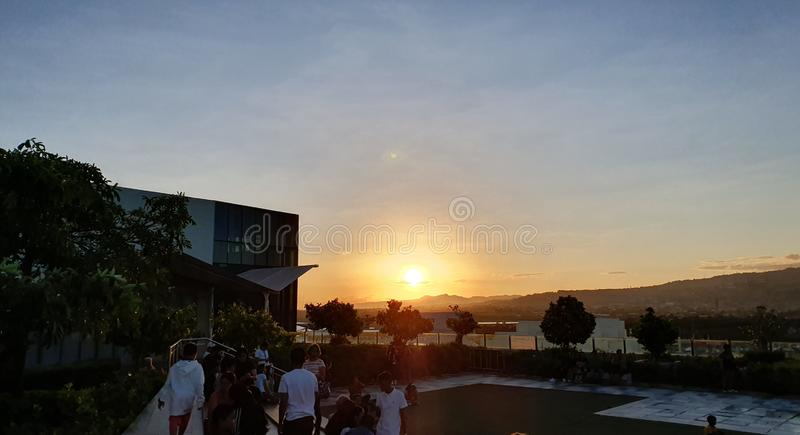 Perfect Sunset Viewed from SM Seaside Mall in Cebu City, Philippines stock image