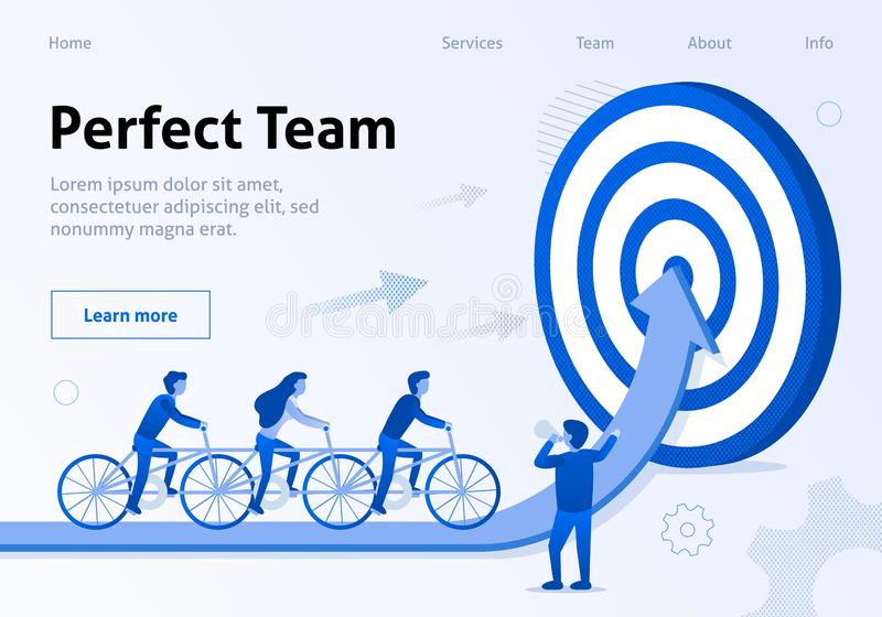 Perfect Team Cooperation Flat Banner for Business vector illustration