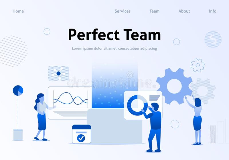 Perfect Team Flat Banner for Business Landing Page stock illustration