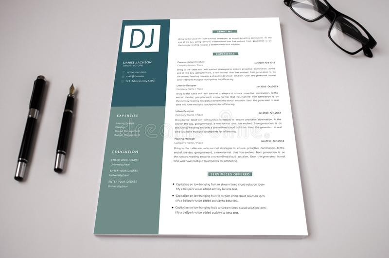 Corporate resume template. The perfect template for the resume where the interviewer get attracted more stock illustration