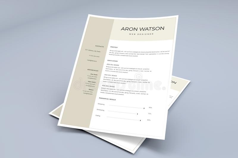 Professional Resume template. The perfect template for the resume where the interviewer get attracted more royalty free illustration