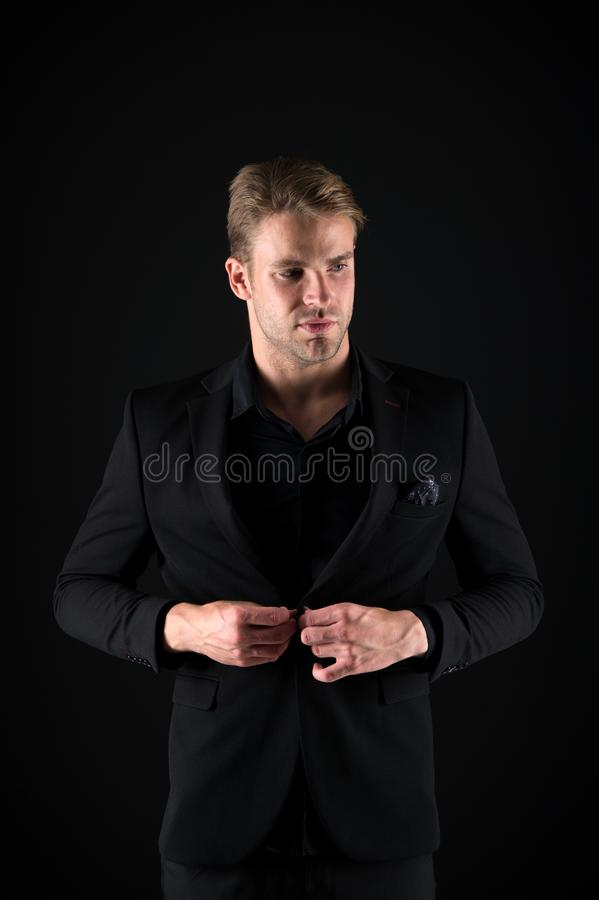Perfect to the last detail. Handsome man in business style. Self employed businessman looking fashionable. Business stock photo