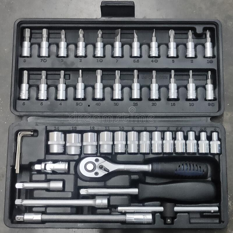 Perfect tool kit. chrome plating socket wrench or spanner in compact case. pro set of tools. Torx tool Socket Drive. Perfect tool kit. chrome plating socket stock image